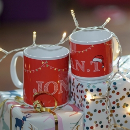 Personalised 'Name In Christmas Lights' Mug