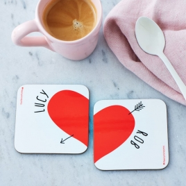 Personalised Love Heart Coasters Pair