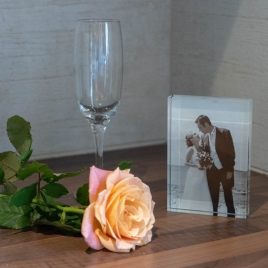 Treasured Memory Glass Photo Block
