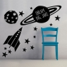 Personalised Balloons/Rocket Wall Stickers