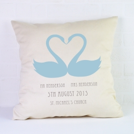 Personalised Wedding Cushion / Swans