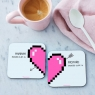 Personalised Pixel Heart Coasters Pair