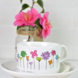 Personalised Flowers Cup And Saucer