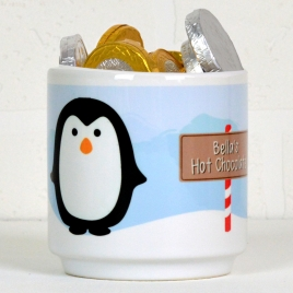 Personalised Penguin Mug With Chocolate Coins