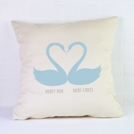 Personalised Valentines Cushion / Swans
