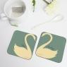 Personalised Swan Heart Coasters Pair