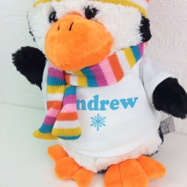 Personalised Christmas Soft Toy Penguin