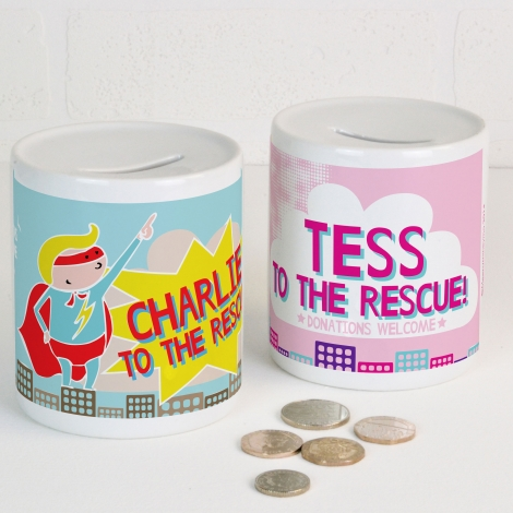 Personalised Money Box Super Hero