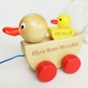 Personalised Wooden Pull Along Duck And Baby Duck Toy