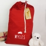 Personalised Santa Sack With Wooden Christmas Gift Tag