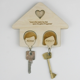 Personalised Couples Key Rack and Keyring Set