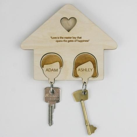 Personalised Couples Key Rack and Keyring Set