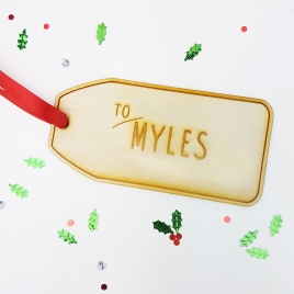 Personalised Large Wooden Christmas Gift Tag