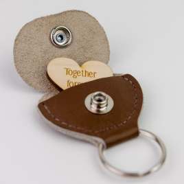 Leather Hidden Heart Message Keyring