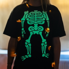 Halloween Glow In The Dark Skeleton T Shirt