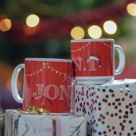 Personalised 'Name In Christmas Lights' Mug