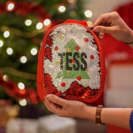 Personalised Christmas Sequin Lunch Bag