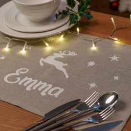 Personalised Linen Christmas Reindeer Placemat