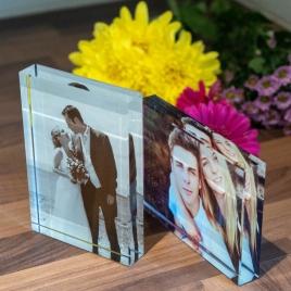 Treasured Memory Glass Photo Block