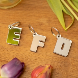 Mirrored Letter Keyring