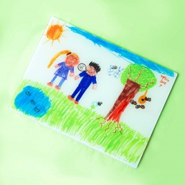 Childs Own Artwork Glass Chopping Board