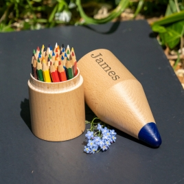 Personalised Giant Wooden Pencil Holder With Pencils