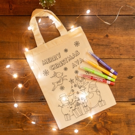 Christmas Scene Colour In Tote Bag