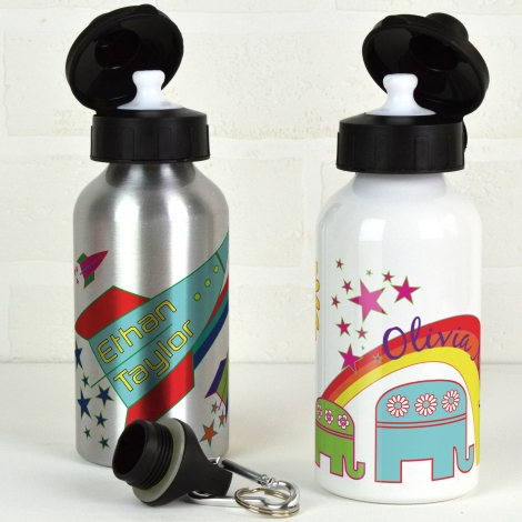 Personalised Water Bottle / Rockets or Elephants