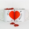Personalised Love Heart Mugs Pair With Chocolates