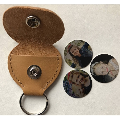 Personalised Leather Hidden Photo Disk Key Ring