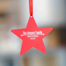 Personalised Hanging Metal Star Decoration