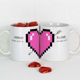 Personalised Pixel Love Heart Mugs Pair