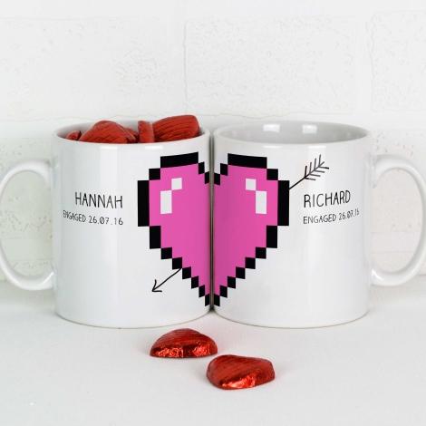 Personalised Pixel Love Heart Mugs Pair