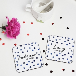 Personalised Couples Polka Dot Coasters Pair