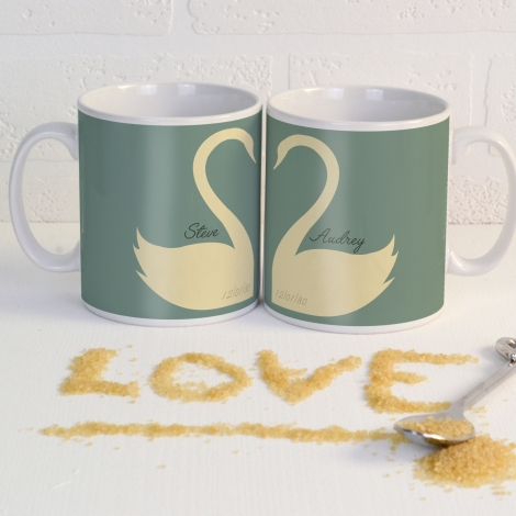 Personalised Swan Heart Mugs Pair