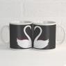 Personalised Swan Heart Mugs Pair