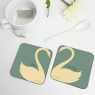 Personalised Swan Heart Coasters Pair