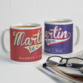 Personalised Retro Style Fathers Day Mug