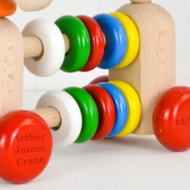 Personalised Wooden Dog Abacus Rattle Toy