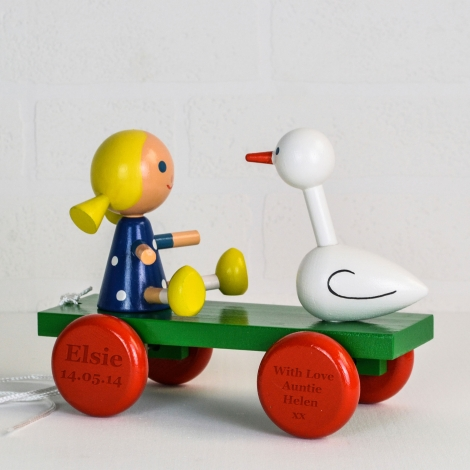 Personalised Wooden Girl And Duck Pull Along Toy