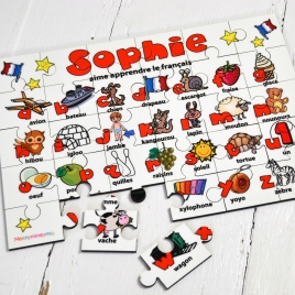 Personalised Wooden French Alphabet Puzzle