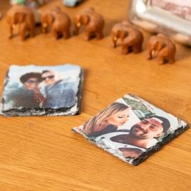 Hand Printed, Natural Slate Photo Coaster