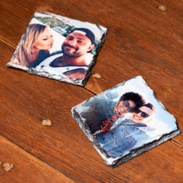 Hand Printed, Natural Slate Photo Coaster